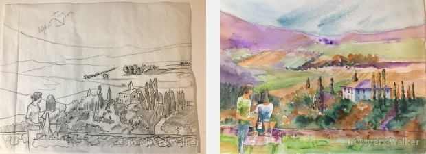 Sketch and watercolor painting of a scene of the Italian countryside by artist Jo Myers-Walker