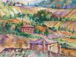Watercolor painting of a vista of Italian fields and red-roofed buildings by artist Jo Myers-Walker