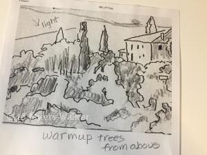 Pencil sketch of Italian countryside by artist Jo Myers-Walker