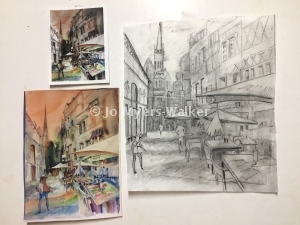 Sketch and painting of street scene along Rue Martainville in Rouen by artist Jo Myers-Walker