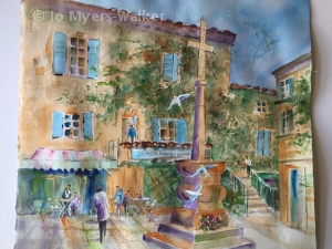 Watercolor painting of the inn La Petite Auberge de Lussan by artist Jo Myers-Walker