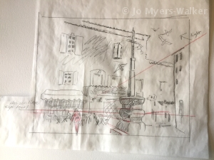 Pencil sketch of the inn La Petite Auberge de Lussan by artist Jo Myers-Walker