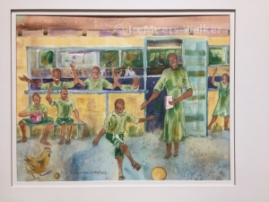 Reproduction of a watercolor painting by artist Jo Myers-Walker showing a scene from the book Lucky's Feet of a young boy kicking a ball while his schoolmates and teacher cheer