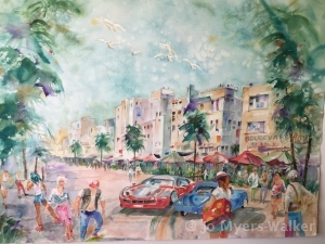Watercolor painting of South Beach street scene by artist Jo Myers-Walker