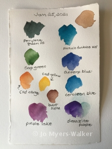 Colors labelled in preparation for watercolor painting