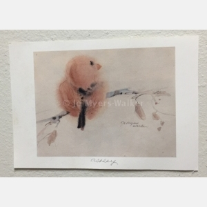 Ashley, , reproduction print of original watercolor painting of a whimsical bird by artist Jo Myers-Walker