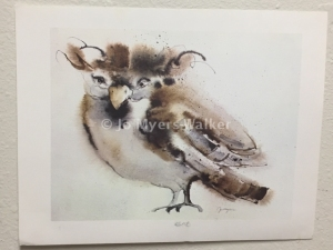Bob, reproduction print of original watercolor painting of a whimsical bird by artist Jo Myers-Walker