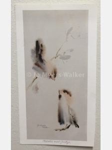 Charles and Judy, reproduction print of original watercolor painting of whimsical birds by artist Jo Myers-Walker