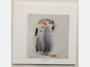 John, reproduction print of original watercolor painting of a whimsical bird by artist Jo Myers-Walker