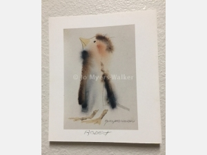 Robert, reproduction print of original watercolor painting of a whimsical bird by artist Jo Myers-Walker