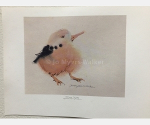 Sara, reproduction print of original watercolor painting of a whimsical bird by artist Jo Myers-Walker