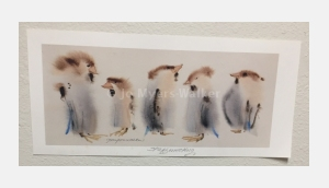 Staff Meeting, reproduction print of original watercolor painting of whimsical birds by artist Jo Myers-Walker