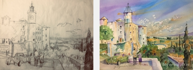 Sketch and painting of medieval castle in Lussan in southern France by artist Jo Myers-Walker