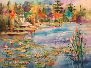 Watercolor painting of Monet's garden at Giverny by artist Jo Myers-Walker, showing lily pond and trees in autumn color