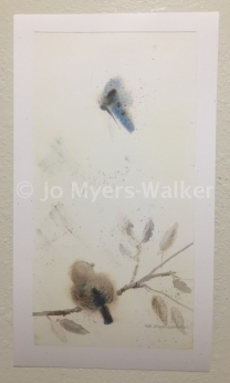 Alyssa, reproduction of original watercolor painting of a whimsical bird by artist Jo Myers-Walker