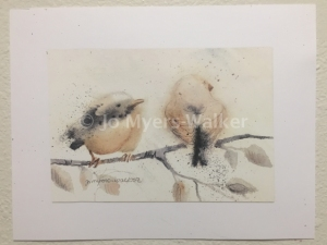 Duane and Darrel, reproduction of original watercolor painting of whimsical birds by artist Jo Myers-Walker