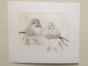 Jo and Rog, reproduction of original watercolor painting of whimsical birds by artist Jo Myers-Walker