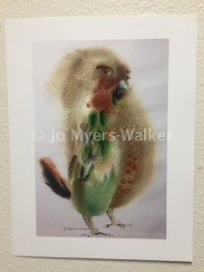 Sassy, reproduction of original watercolor painting of a whimsical bird by artist Jo Myers-Walker