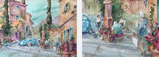 Watercolor painting of a narrow street in the village of Saint-Victor-des-Oules, France by artist Jo Myers-Walker