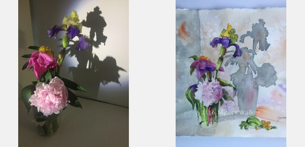 Photo of spring flowers in a vase with stark shadow behind, and a watercolor painting of the same scene by artist Jo Myers-Walker