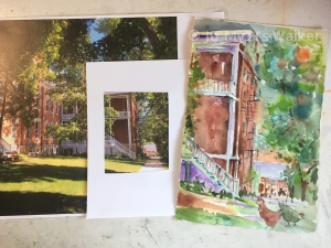 Exterior photo of buildings and shaded lawn at Shalom Spirituality Center in Dubuque, Iowa with watercolor painting of detail of the scene by artist Jo Myers-Walker