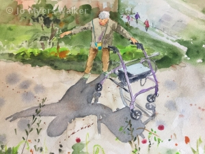 Watercolor painting of person with arms outstretched to play with making shadow by artist Jo Myers-Walker