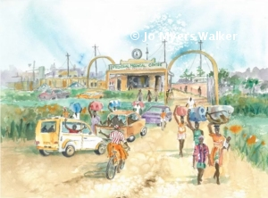 A watercolor illustration by artist Jo Myers-Walker from the book Lucky's Feet, showing people traveling on the road to a city on foot and by auto